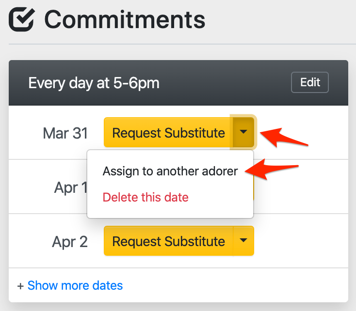 Assigning a commitment date to another adorer