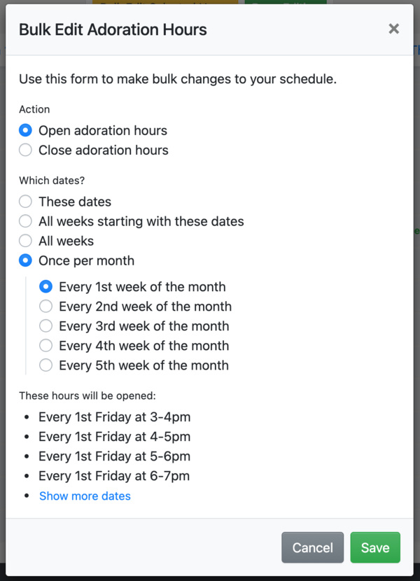 Bulk edit selected hours monthly option
