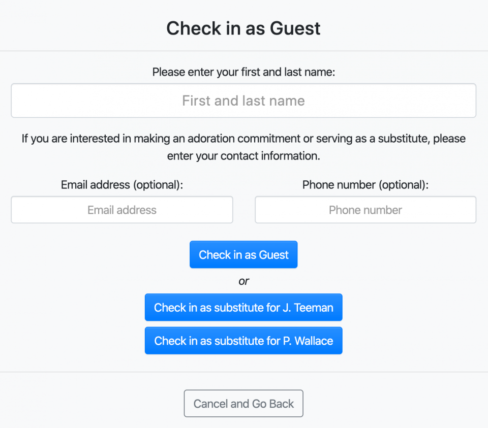 Guest check-in form