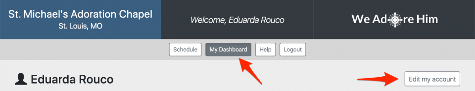 Edit your account on your dashboard page