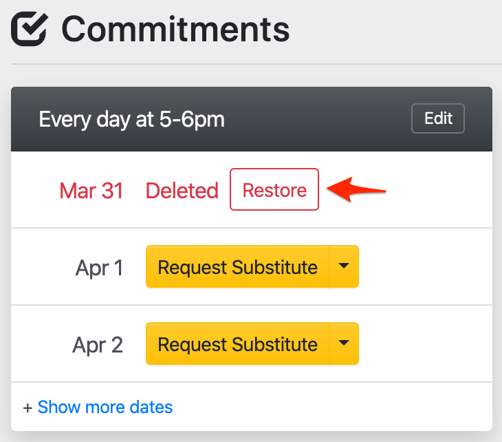 Restoring a commitment date